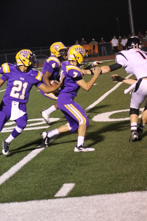 Senior JJ Kolb takes the ball and runs during the Buffalo/Centerville game last Friday. The game was televised on KBTX.