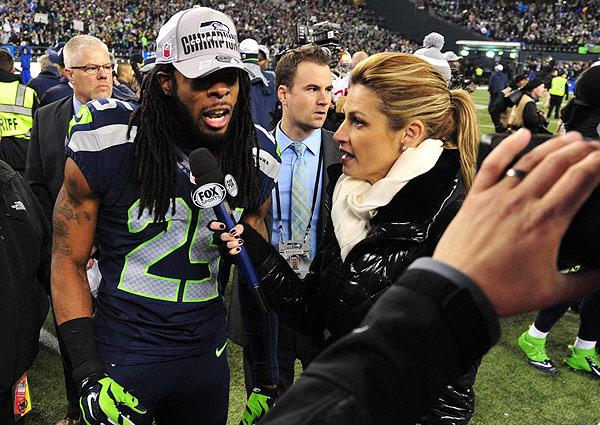 Fox reporter Erin Andrews interviews Seattle's Richard Sherman after the NFC Championship game; the interview quickly turned ugly as Sherman hurled threats and boasted of his superior skills.