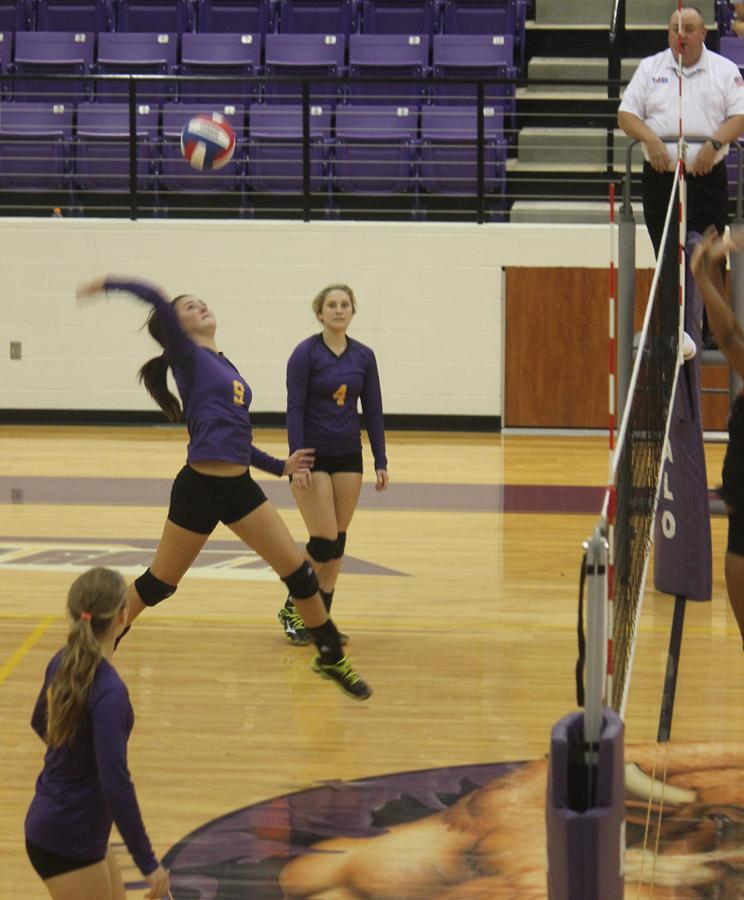 Volleyball+player+Allison+Grissett+catches+some+air+as+she+sends+the+ball+back+over+the+net+during+the+game+against+Westwood+Tuesday+night.+After+both+a+win+and+a+loss+in+the+past+week%2C+the+girls+hope+to+beat+Crockett+Friday+night.