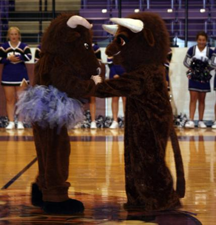 Junior High Bucky and High School Bucky hung out together some at Meet the Bison.