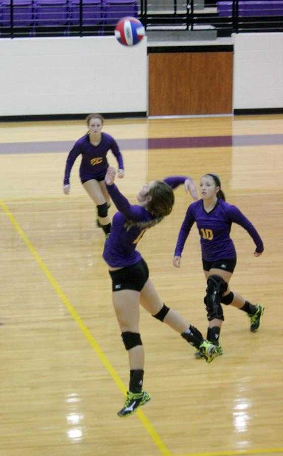 Madison Kennedy goes up for a spike as the Lady Bison take on Leon. The team plays Onalaska tonight in Onalaska.