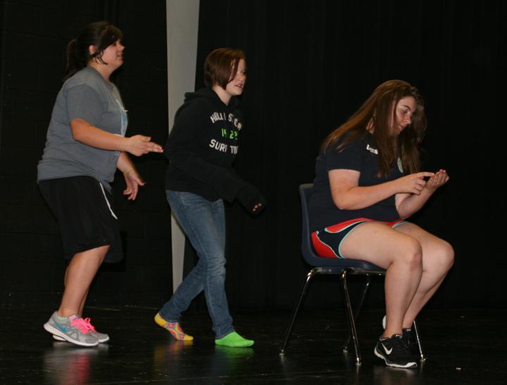 Sophomore Kaiden Loep and freshman Ally Smith act in their skit.