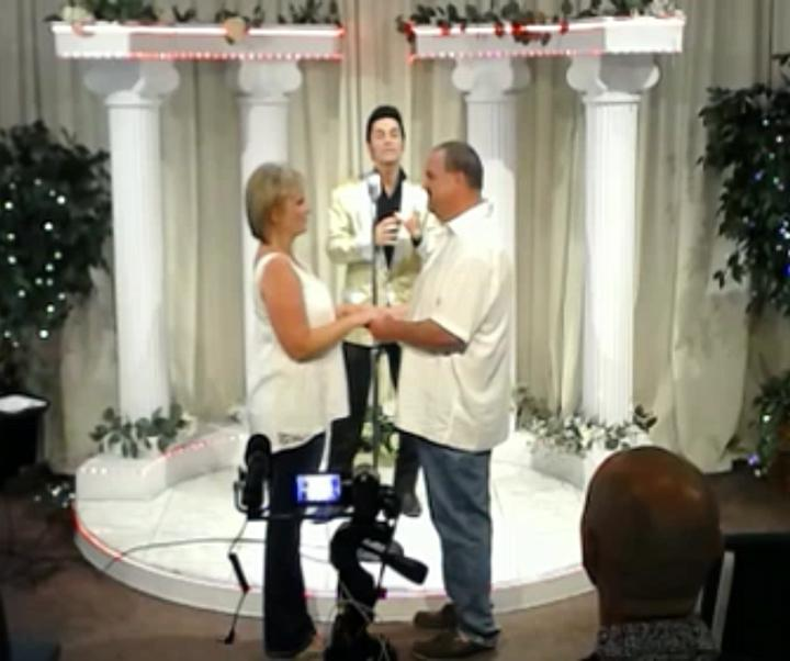 Teachers Jeff and Katie Villarreal were married by an Elvis impersonator in Vegas this summer.