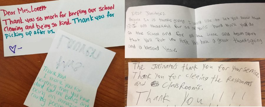Students write cards of thanks