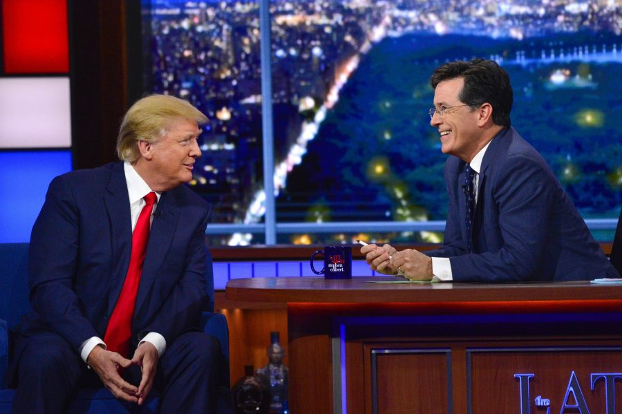 NEW YORK - SEPTEMBER 22: Donald Trump talks about his US Presidential campaign  on The Late Show with Stephen Colbert, Tuesday Sept. 22, 2015 on the CBS Television Network. (Photo by John Paul Filo/CBS via Getty Images)
