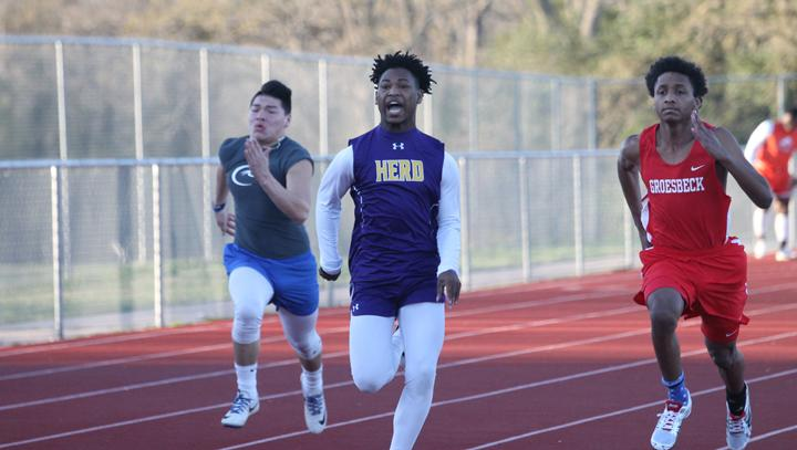 Bison track hosts meet