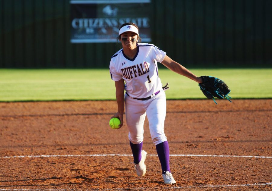 Senior Iris Valles focuses on her form as she pitches a game against Franklin.