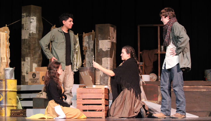 Ashley White, Omar Almeida, Nicollette Arabie and Billy Duncan perform a scene from the OAP House  Full of  Letters.