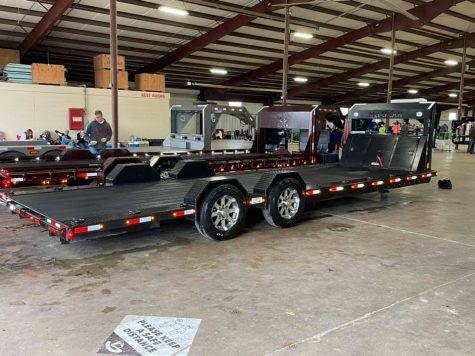 The trailer for the Ag Mech show is lined up with the competition at the San Antonio Ag Mechanics Show. The students will compete in Houston as well.