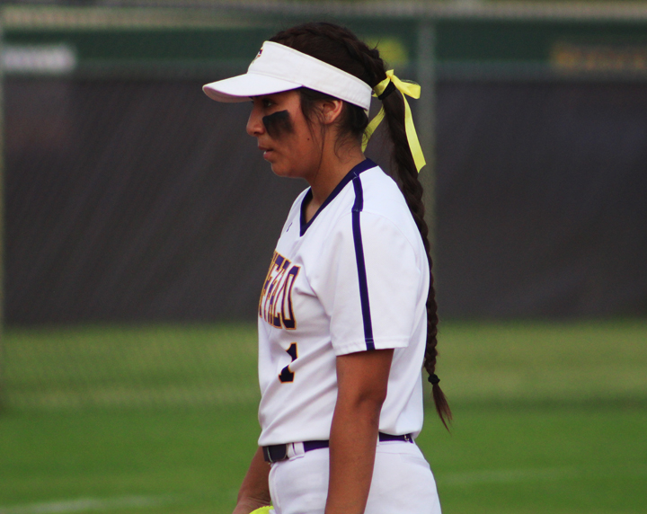 Pitcher Iris Valles faces off with a batter during the final home game of the season for the Lady Bison.
