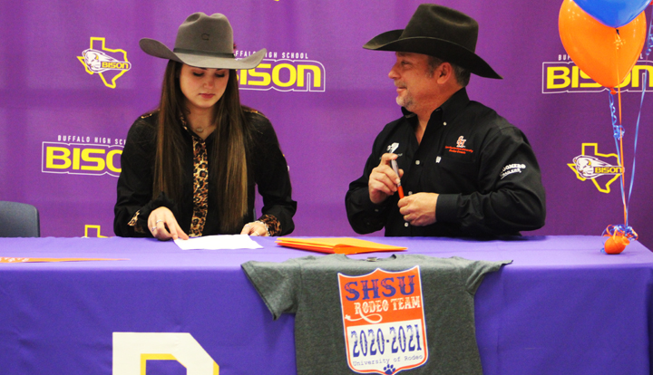 Senior Josie Henson signed with the SHSU Rodeo Team.