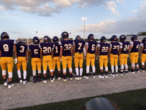 The Bison line up before the coin flip. The team came back from  last weeks loss with a victory  over Westwood.