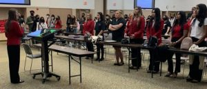 FCCLA members recite the creed at the closing ceremony of their leadership conference last week. Students will take what they learned and use it to improve their projects this year.