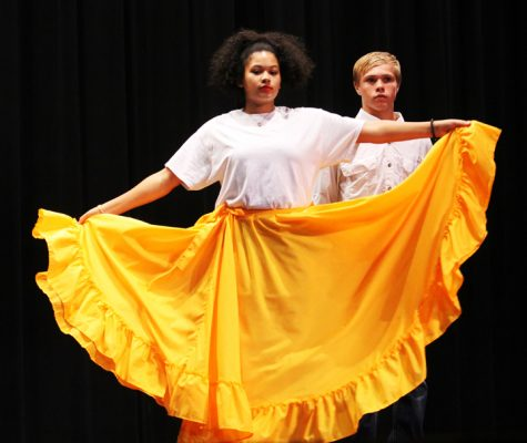 Sophomore Alyncia Cumby dances during one of the first songs of the evening.