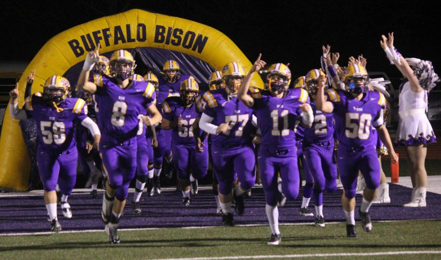 The+Bison+team+hits+the+field+for+their+last+home+game+of+the+season.