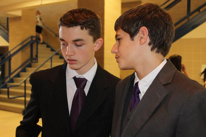 Freshmen+Bryan+Moore+and+Evan+Grisham+talk+about+last-minute+tweaks+to+their+case+before+heading+into+their+first+round.+The+CX+debaters+compete+at+district+on+January+30.