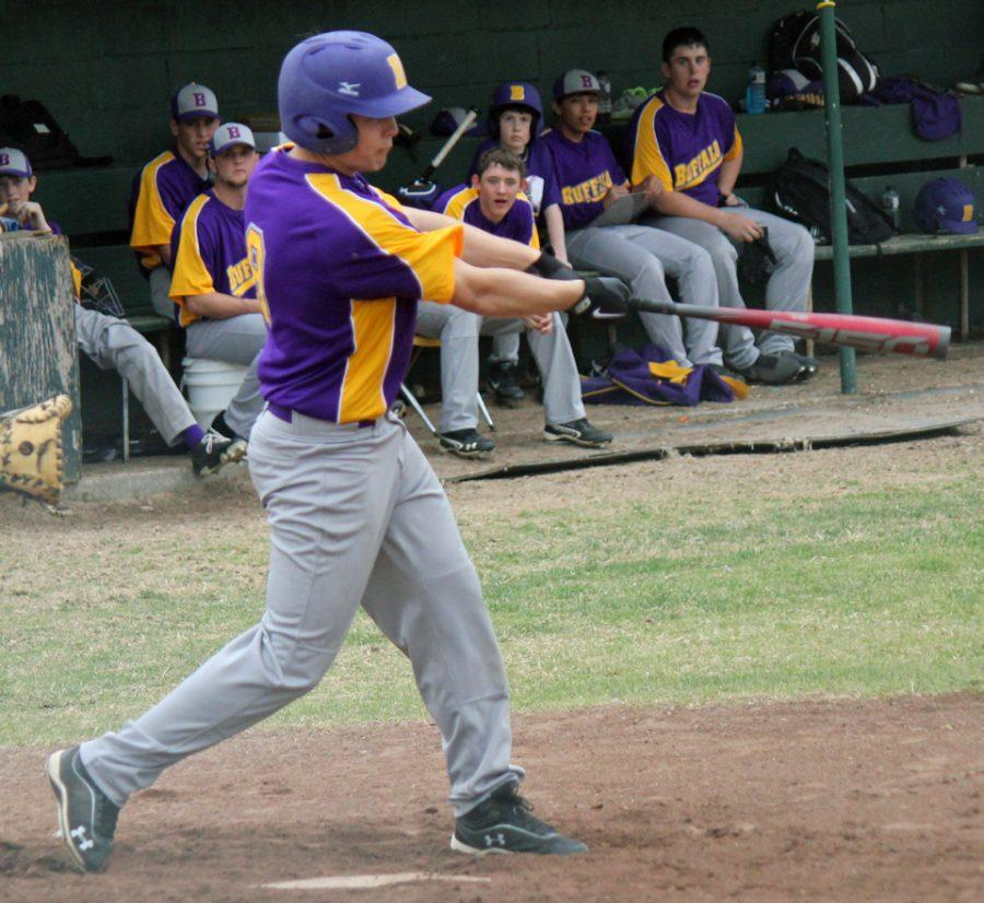 Senior+Trent+Martin+swings+for+a+hit+during+the+2013+baseball+season.+Martin+was+selected+to+be+a+KBTX+Classroom+Champion.