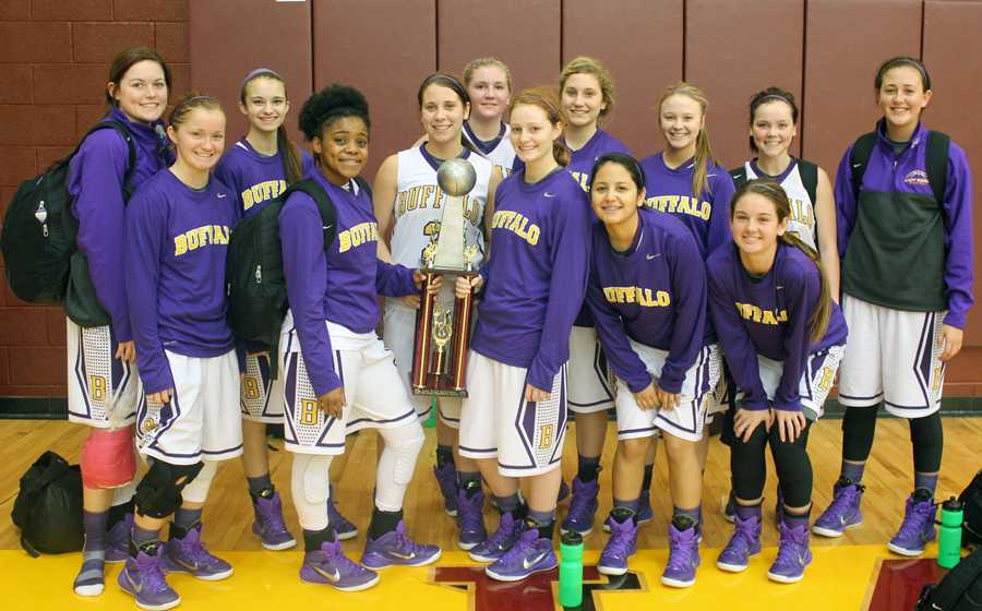 The+Lady+Bison+show+off+their+trophy+after+taking+second+place+at+the+tournament+in+Fairfield.+
