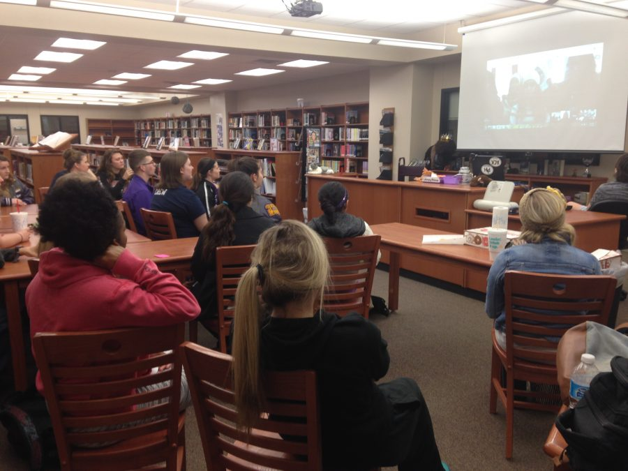 Global Nomad students visit with students in Jordan via an international video conference last week.