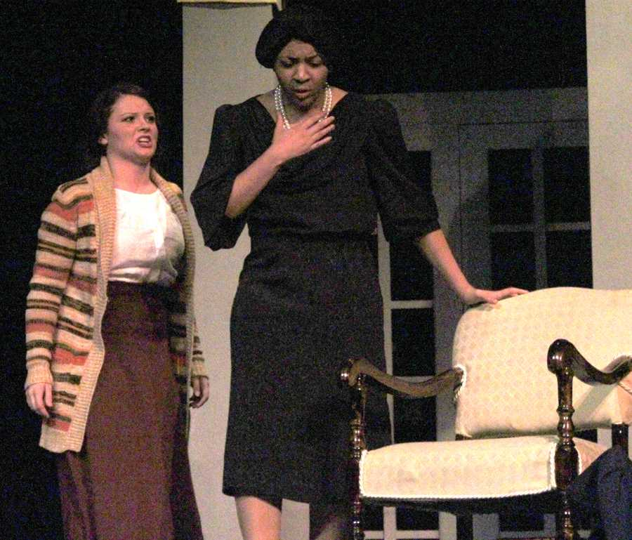 Grandmother Amelia Tilford, played by Erykah Anderson, realizes the truth about what her granddaughter has done when she hears the news about Martha from Karen, played by Kayla Hutchins.