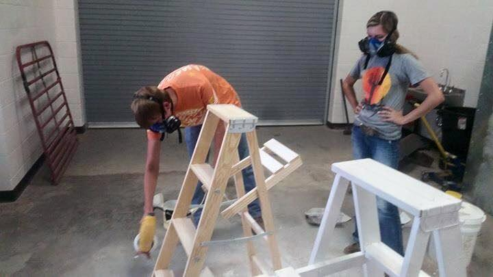 Having the ag students paint the ladders for the Belles saved the group money over purchasing them already painted.