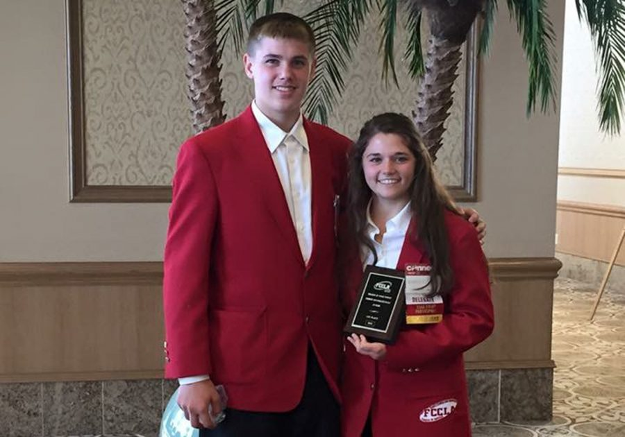 Jarrett+Fishbeck+and+Makayla+Gilliam+won+first+place+with+their+Promote+and+Publicize+FCCLA+project.+They+are+one+of+seven+teams+advancing+to+state.