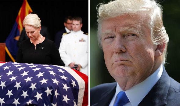 Trump's behavior during McCain's funeral lacks sincerity