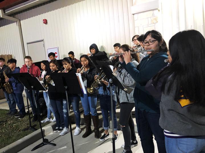 Band plays for Christmas tree lighting