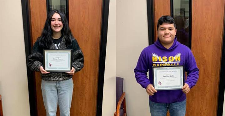 Jones, Avila named Students of the Month
