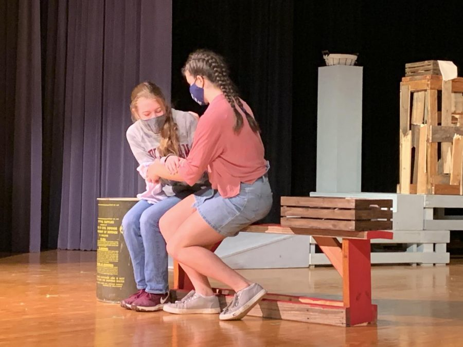 Freshmen Nicolette Arabie and Emma Cocking run through a scene while at an OAP clinic in  Centerville.