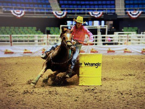 Senior Josie Henson runs the barrels in San Antonio.