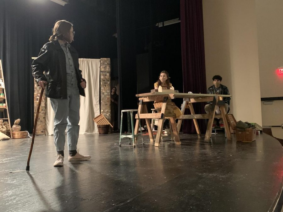 Actors Lindsey Hardin, Ashley White and Omar Almeida work on a scene at OAP rehearsal. The students spent most Sunday afternoons since returning to school in January at rehearsal.