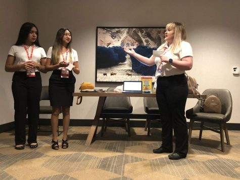 FCCLA group members Sherlynn Rodriguez, Jazlynn Early and Hannah Travis practice before competing.