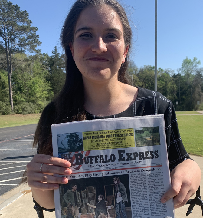 Freshman Nicollette Arabie shows of the OAP coverage in the Buffalo Express.